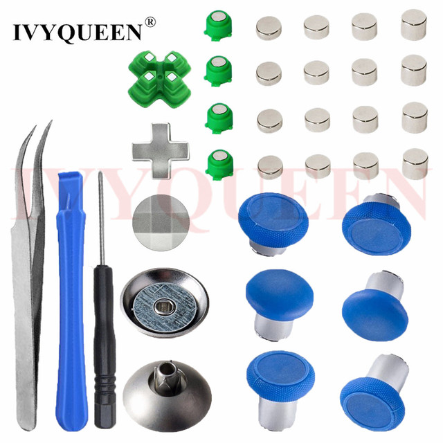 US $24 69 5% OFF|IVYUEEN Magnetic Analog Stick Dpad Action Buttons Mod Kit  for PlayStation 4 PS4 Pro Slim Controller Swap Thumbsticks Caps -in