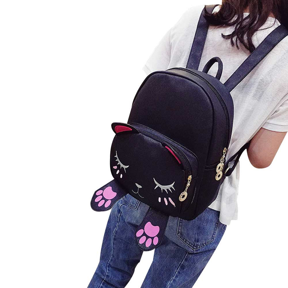 3 Colors Mochilas Mujer Cute Cat Backpack School Women Pu Leather Backpacks For Teenage Girls Female Mochila 1018