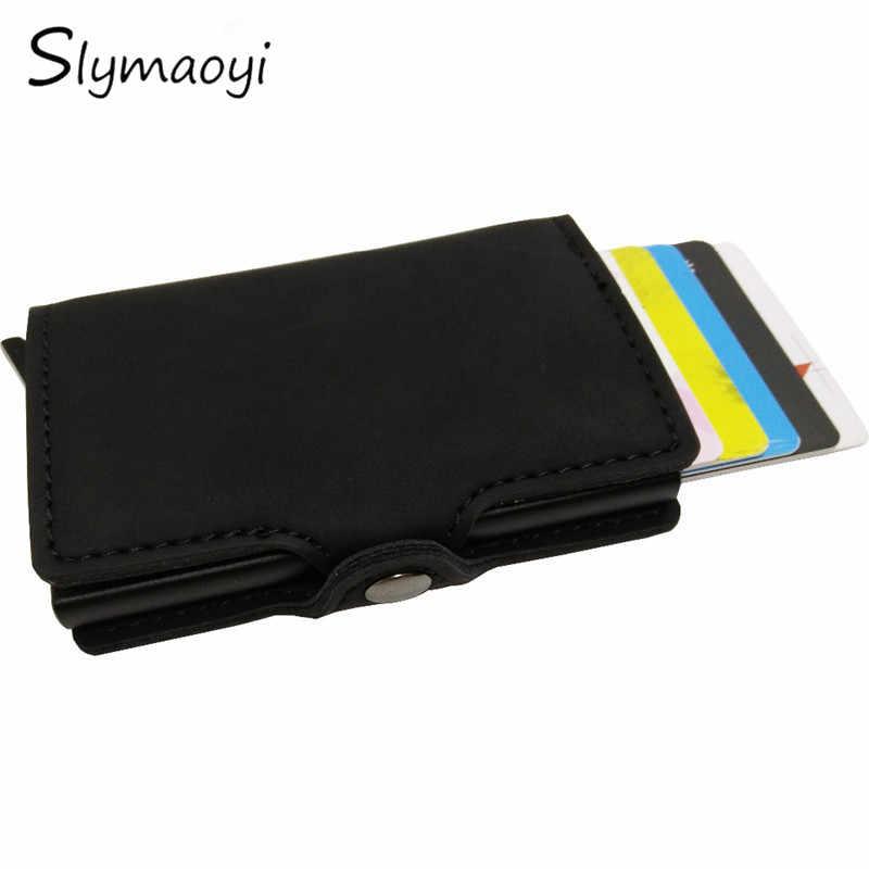 Slymaoyi antirobo de alta calidad metal hombres tarjetero rfid aluminio tarjeta de crédito con bloqueo rfid pu cuero mini cartera