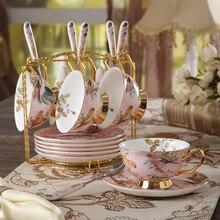 цена на Top-grade bone china coffee cup set Ceramics teapot Saucer China British porcelain tea cup set Teatime Afternoon Tea party