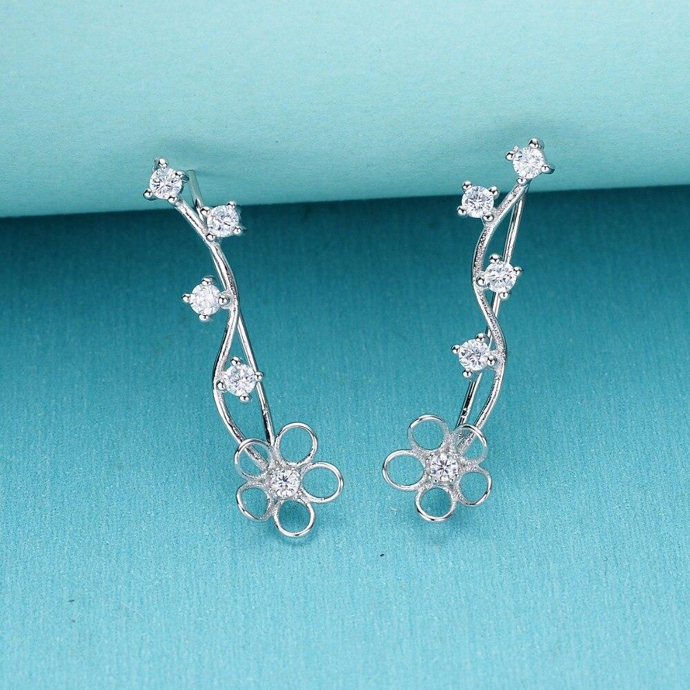 Bella Fashion 925 Sterling Silver Hollow Flower Bridal Earrings Cubic Zircon Ear Cuff Wrap Hook Earrings For Wedding Jewelry faux crystal flower hook earrings