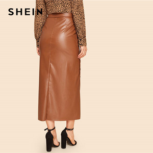 Image 2 - SHEIN Brown Elegant Split Hem Front Double Button Belted Leather Look Long Skirt Office Lady Solid Workwear Maxi Skirts