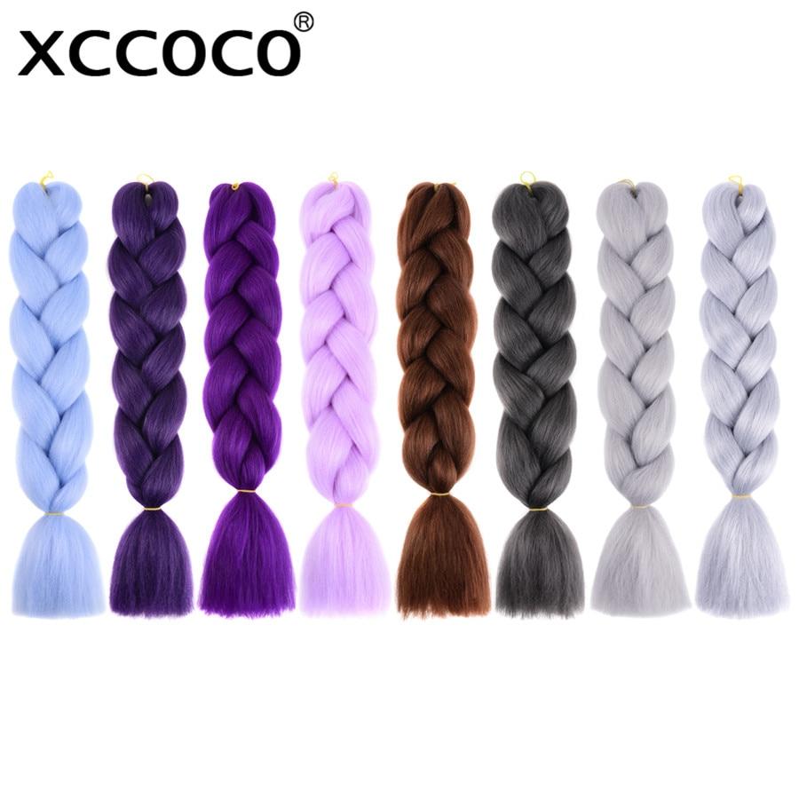 XCCOCO Kanekalon вязаный крючком плетение наращивание волос 24 дюймов Синтетические Ombre Jumbo косы