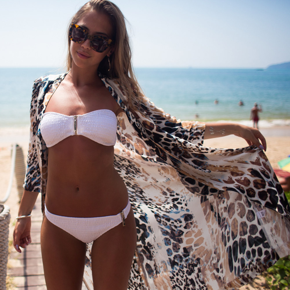 77f81dadf8d89 Women Leopard Printed Chiffon Shawl Cardigan Tops Cover up Blouse Summer  Beach Dress Tassel Trim Bikini Swimsuit