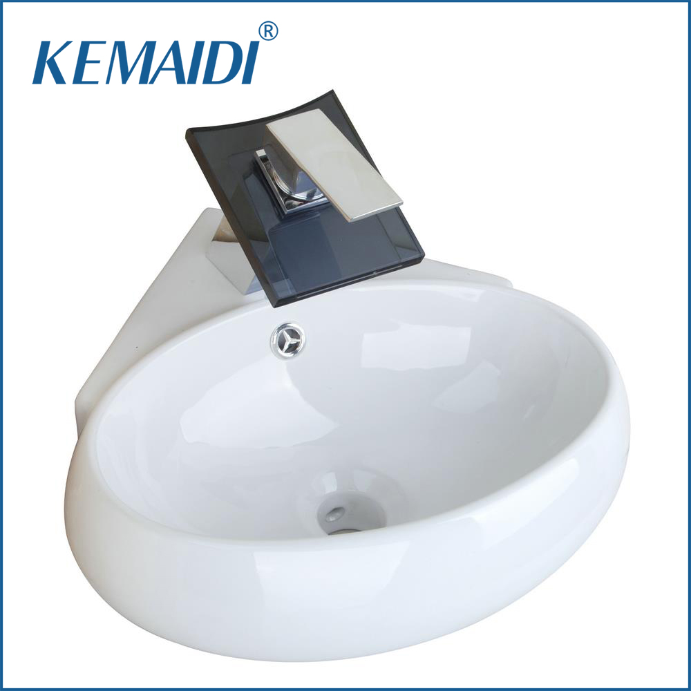 KEMAIDI Bathroom Ceramic Basin Sink +Black Waterfall Glass Brass Faucet Set TW32058217 Wash Basin Vanity Mixer Taps Faucets