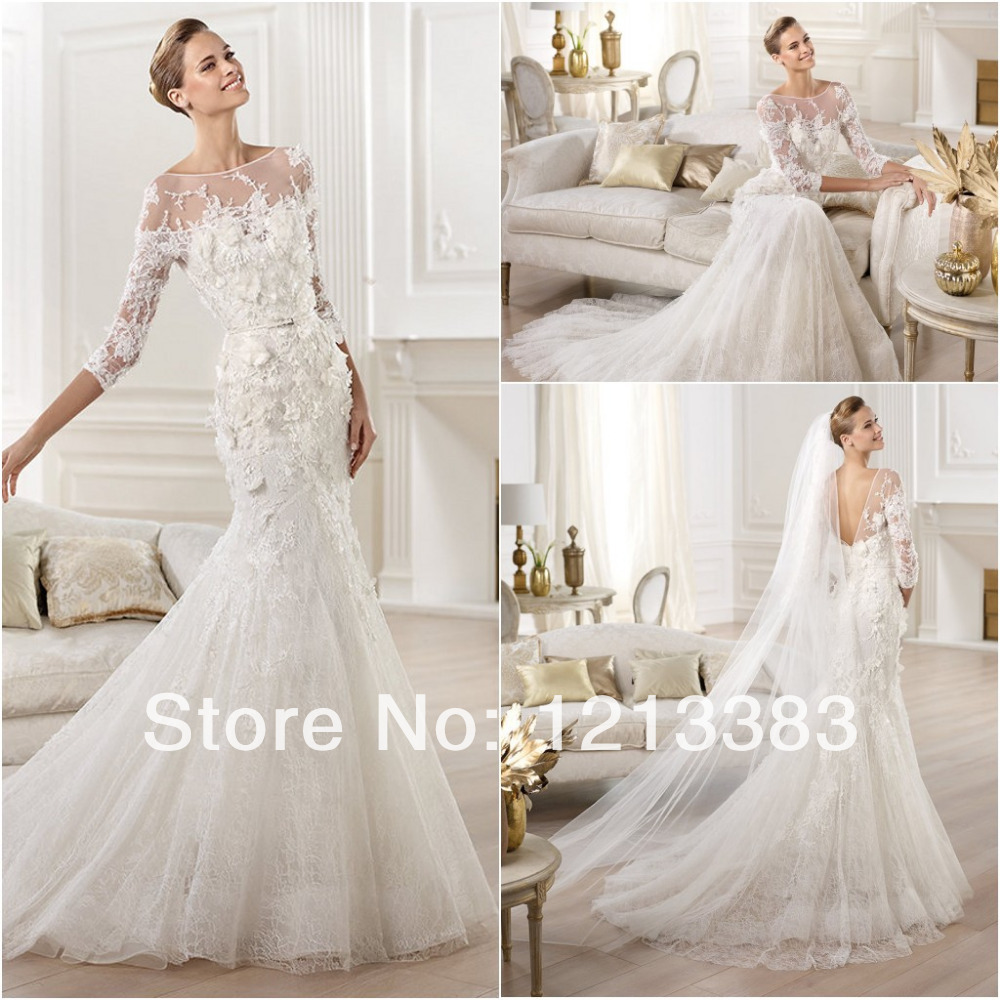 High quality 3 4 sleeves white mermaid open back lace for Price of elie saab wedding dress
