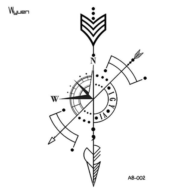 WYUEN Arrow Temporary Tattoo Sticker Compass Tattoos for Women ...