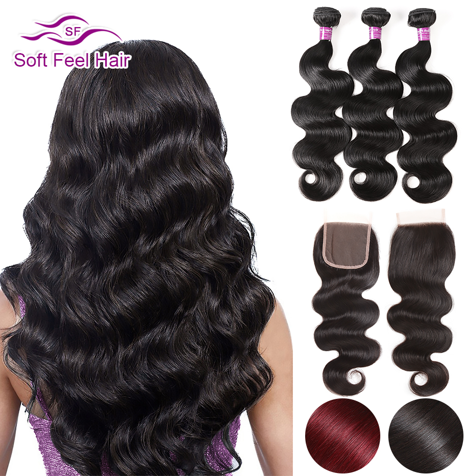 Soft Feel Hair Brazilian Hair Weave Bundles With Closure Body Wave 3 4 Bundles With Closure