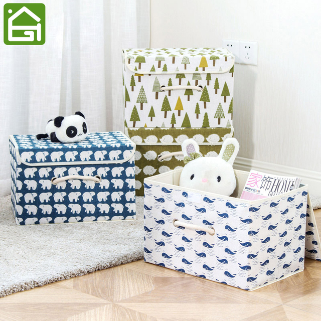 Dustproof Cotton Linen Organizer Bins With Handles Large Foldable Clothing Storage Basket Cubes For Clothes And Toys