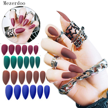 24pc Matte False Nails Art Decoration Pure Colors Matte Polish Long Sharp Head Full Cover Fake Nail Tips Patch with Glue Sticker nail art wine red fake nail full cover matte false nails short head soft pure color frosted artificial tips