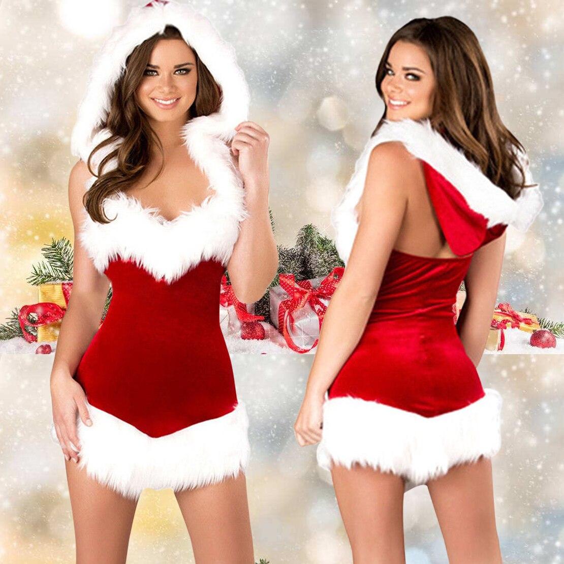 Women Christmas Santa Hooded Dress Velvet Fur V-Neck Sleeveless Cosplay Costume Xmas Party Outfit Fancy Hoodies