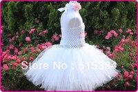 白ヴィンテージ花チュチュドレス赤ちゃん の ため の卸売花真珠2層チュチュドレス で ヘッド バンド セット 5 セット/ロット