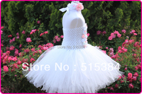 Weiße vintage blume tutu kleid für babys großhandel blume perle 2 layer tutu kleid mit stirnband set 5 sätze/los freies verschiffen