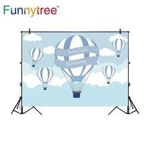 Funnytree backdrop para estúdio fotográfico céu nuvem dos desenhos animados balão de ar quente crianças fundo photocall photobooth prop foto