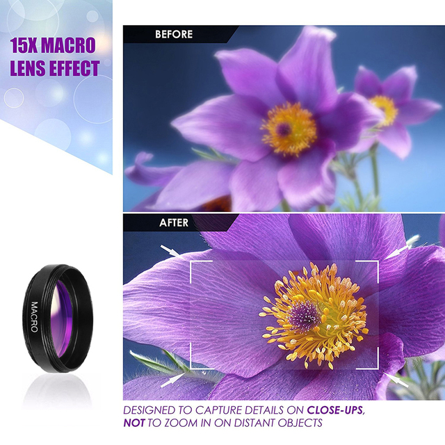 APEXEL Professional HD Camera Lens Kit 0.45X Wide Angle 12.5X Macro Lens Mobile Phone Lens for iPhone 6s plus 7 8 Samsung Huawei 3