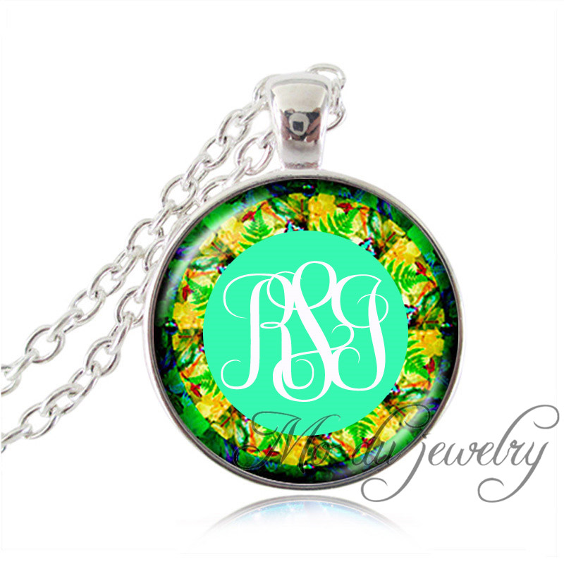 Monogram initials glass pendant personalized initial necklace custom monogram initials glass pendant personalized initial necklace custom name jewelry bronzesilver chain monogram pendant necklace in pendant necklaces from aloadofball Images