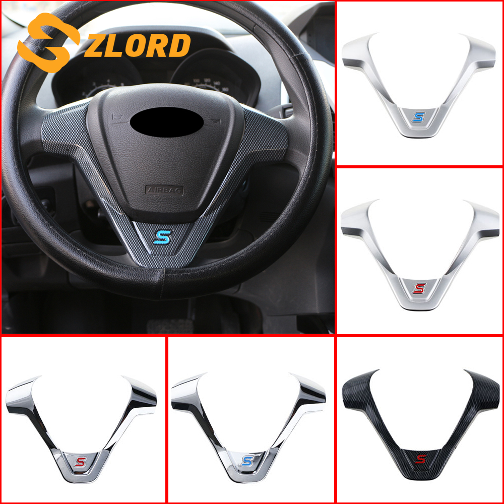 Car Cruise Control Button Panel Steering Wheel Modified Frame Panel Trim for Fiesta mk7 mk8 ST Ecosport 2013 2015 Accessories matte silver panel