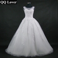 QQ Lover 2018 A Line Scoop Neck Lace Up Sweep Train Wedding Dress With Beaded Mariage