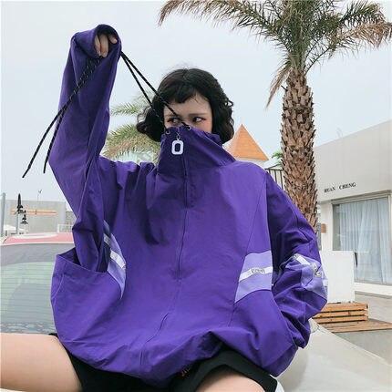 Korean Women Plus Size Loose Tops Coats Hip Hop Purple Jacket 2018 New Long Slee