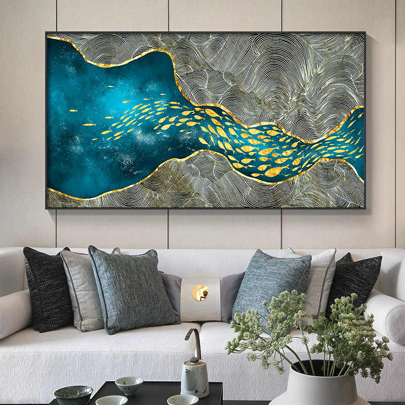 Abstract Modern Decor golden fish n moon Canvas Painting Poster And Print Wall Art Pictures For Living Room Bedroom Dinning Room