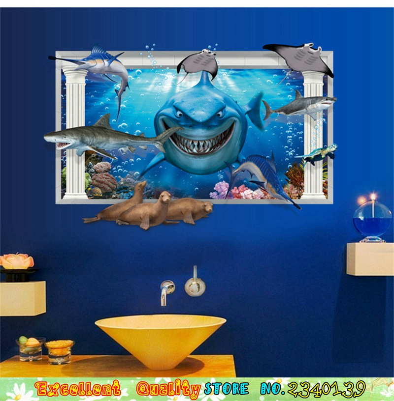 Movie finding nemo poster wall sticker 3d window ocean shark wall movie finding nemo poster wall sticker 3d window ocean shark wall art decals waterproof home bathroom bedroom decor wall sticker in wall stickers from home thecheapjerseys Gallery
