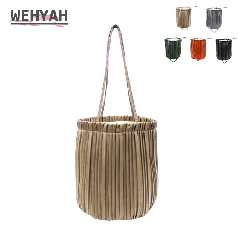 Wehyah PU Drawstring Bag Leather Fold Bucket Bags for Women Bag Handbags Drawstring Pouch Totes Ladies