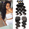 Cheap Brazilian Straight Virgin Hair With Closure Unprocessed Virgin Hair Bundle Deals With Closure Human HairWeave With Closure