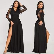 섹시한 긴 소매 댄스 파티 드레스 2020 새로운 도착 블랙 v 목 레이스 라인 다리 슬릿 쉬폰 겨울 가을 댄스 파티 긴 우아한 드레스