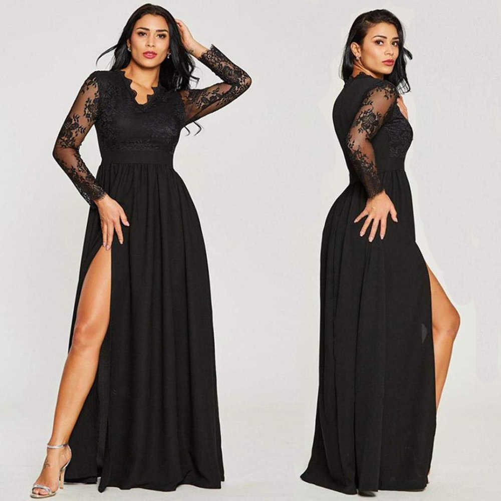 9719715209351 Detail Feedback Questions about Sexy Long Sleeve Prom Dresses 2018 New  Arrival Black V neck Lace A line Leg Slit Chiffon Winter Autumn Prom Long  Elegant ...