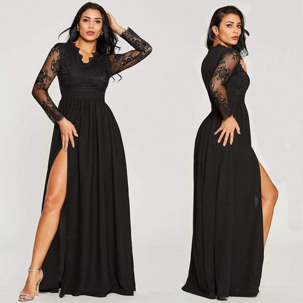 Sexy Long Sleeve Prom Dresses 2020 New Arrival Black V-neck Lace A-line Leg Slit Chiffon Winter Autumn Prom Long Elegant Dresses