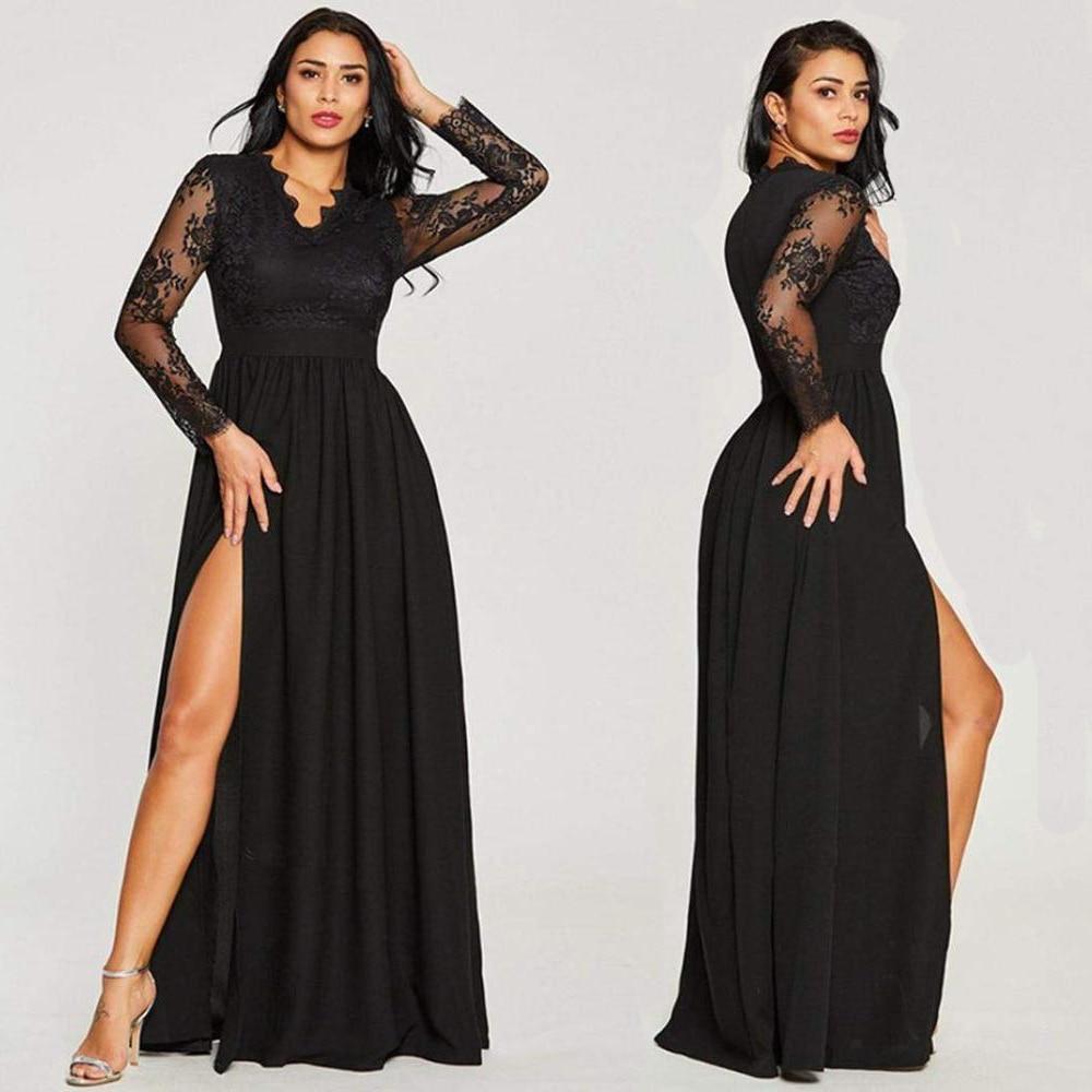 Sexy Long Sleeve Prom Dresses 2020 New Arrival Black V-neck Lace A-line Leg Slit Chiffon Winter Autumn Prom Long Elegant Dresses