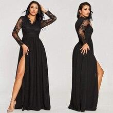 Sexy Long Sleeve Prom Dresses 2020 New Arrival Black V neck Lace A line Leg Slit Chiffon Winter Autumn Prom Long Elegant Dresses