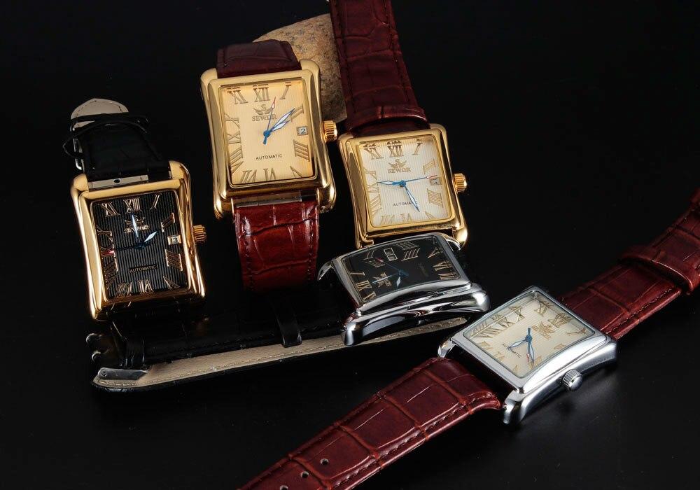 Sewor Роскошные мужские часы, мужские наручные часы, военные спортивные часы, автоматические механические мужские классические часы с календ... - 6