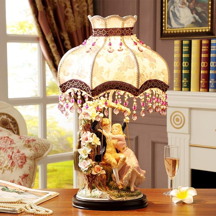 Moderne Keramische Tafel Lampen Voor Woonkamer Thuis Led Bureaulamp Slaapkamer Een Paar Knuffelen Koppels Swingende Abajur Lamparas De Mesa