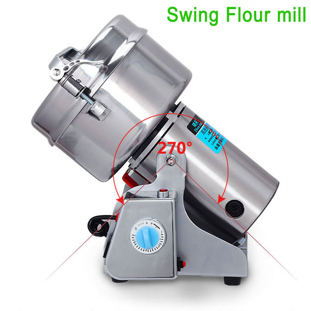 4.4lbs Grains Spices Hebals Cereals Coffee Dry Food Grinder Mill Grinding Machine Gristmill Home Medicine Flour Powder Crusher dry food grinder machine swing type electric grains herbal powder miller high speed spices cereals crusher w ce ccc
