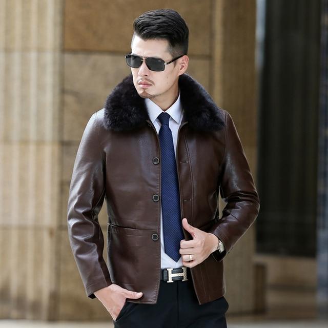 35bdd743273 Mens Faux Fur Coats Winter Leather Jacket Men Thick PU Imitation Sheep Skin  2017 Mens Leather Jackets And Coats Parka Men Coat