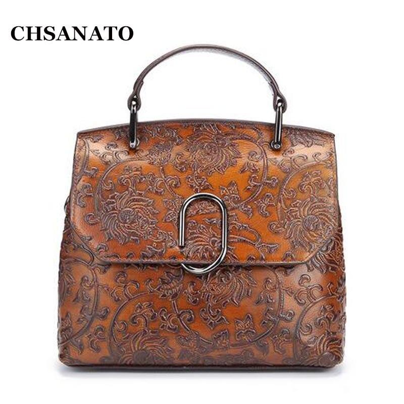 Praktisch Chsanato Mode Frauen Handtasche Aus Echtem Leder Schultertasche Geprägt Vintage Retro Tasche Damen Kleine Trage üBerlegene In QualitäT