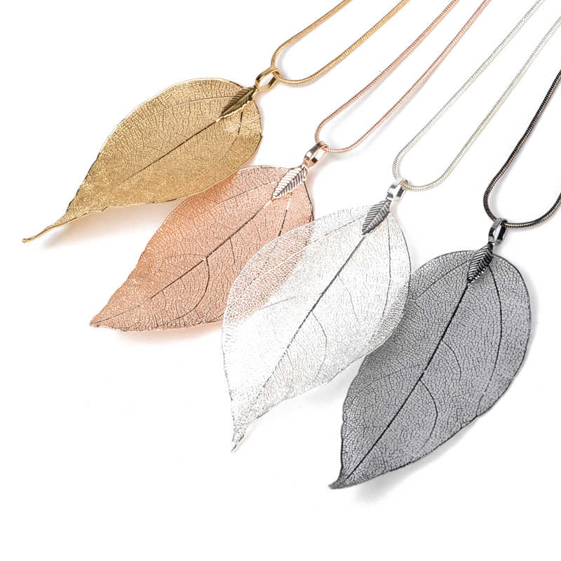4pcs/lot Charm Long Leaf Pendant Sweater Chain Necklace Shellhard Leaves Choker Chain Necklace Women Fashion Jewelry