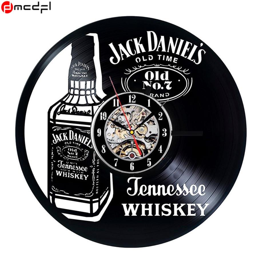 La maison Salon Whisky Bière Conception 3D Horloge Murale Mode Décoration Art Horloge Vinyle Stickers Muraux Soutien Drop Shipping
