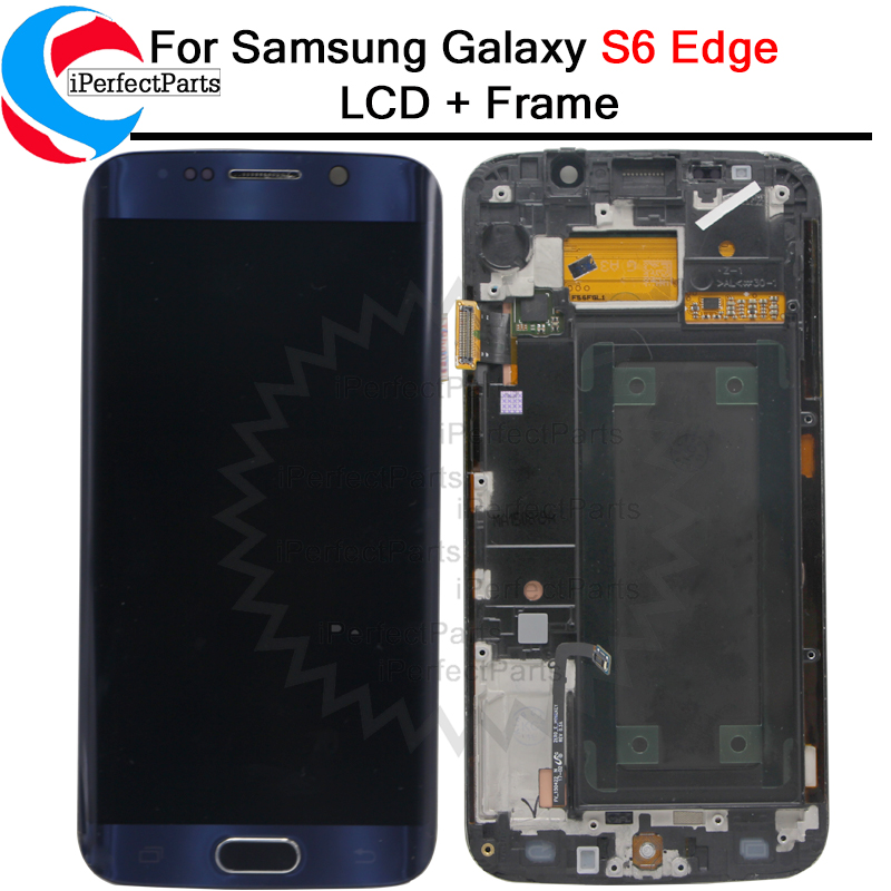Super Amoled For Samsung Galaxy S6 Edge LCD Display Touch Screen Digitizer frame SM G925F G925P