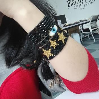 ce03a9b74a35 SHINUSBOHO 3 unids set pulsera de encanto de ojo dorado para hombre Delicas pulseras  de labios Miyuki mal de ojo para mujer pulseras brazaletes Accesorios
