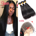 Indian Straight Virgin Hair 360 Lace Frontal With 3 Bundle Pre Plucked Indian Virgin Hair With Lace Frontal Human Hair Wigs 100g