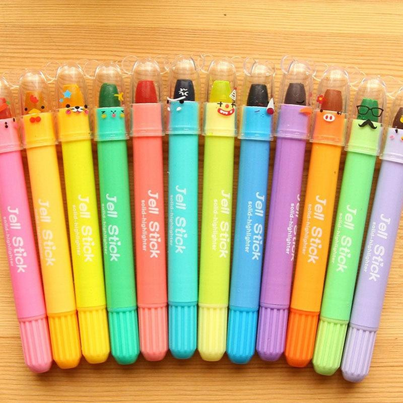 12pcslot Korean Highlighters Kawaii 12 Colors Rotation Crayon