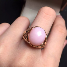 12*14mm fine jewelry perfect 18k rose gold perfect highest grade Australia pink opal wedding ring