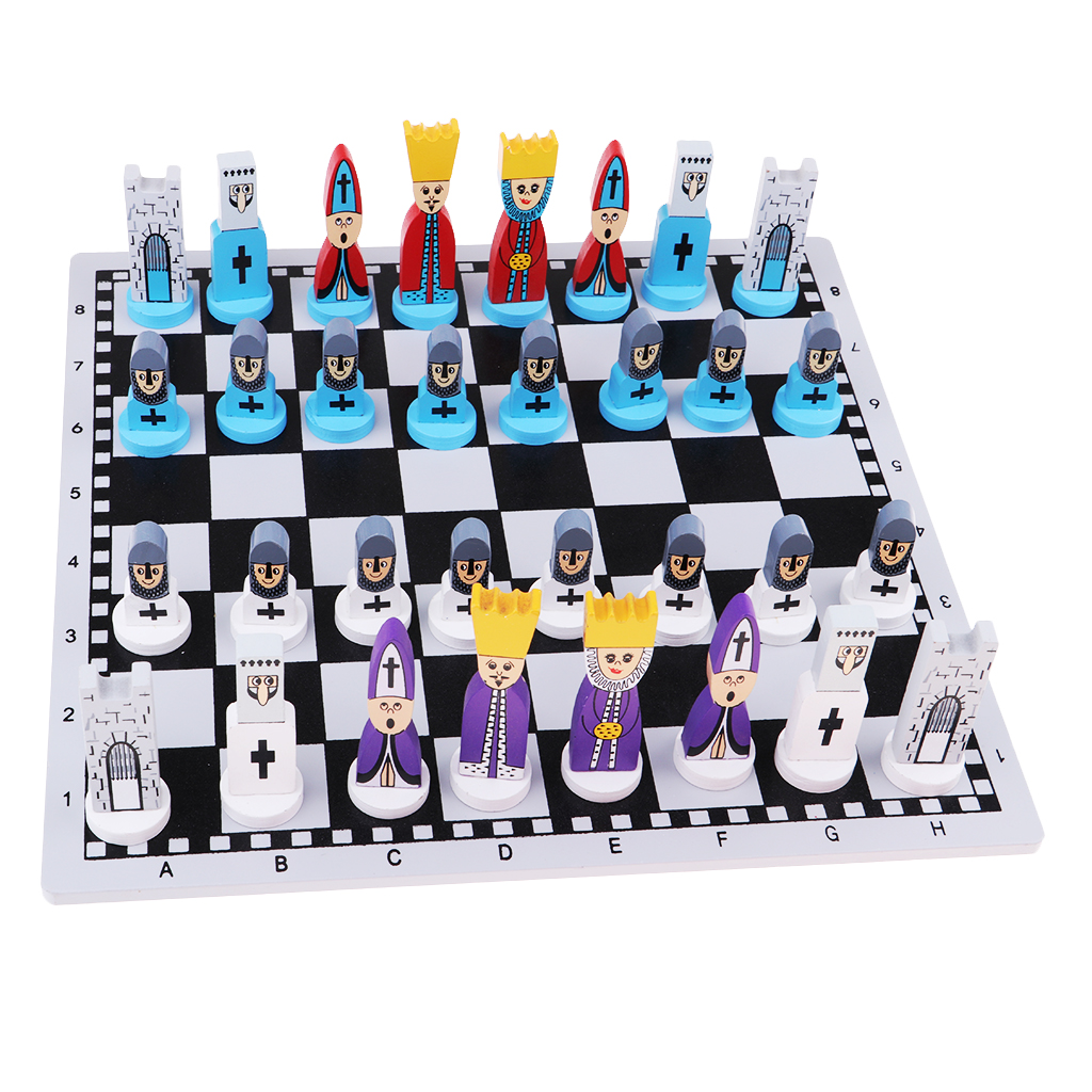 International Chess Chessman Wooden Travel Chess Set With Board Educational Board Games Toys For Kids And Adult