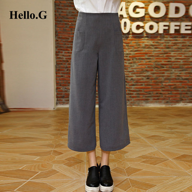 Vintage Dress Grey Women Trousers