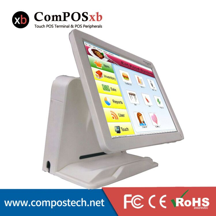 Factory Directly Sell 15 Touch Screen All in One Touch Screen Restaurant System China POS Terminal With VFD Customer Display