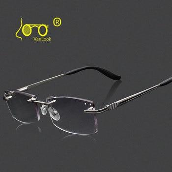 54e6993b6e Gafas de lectura sin montura de diamante para hombre + 1,00 1,50 2,00 2,50  4,00 3,50 3,00 Anti reflectante funda de gafas de moda gratis