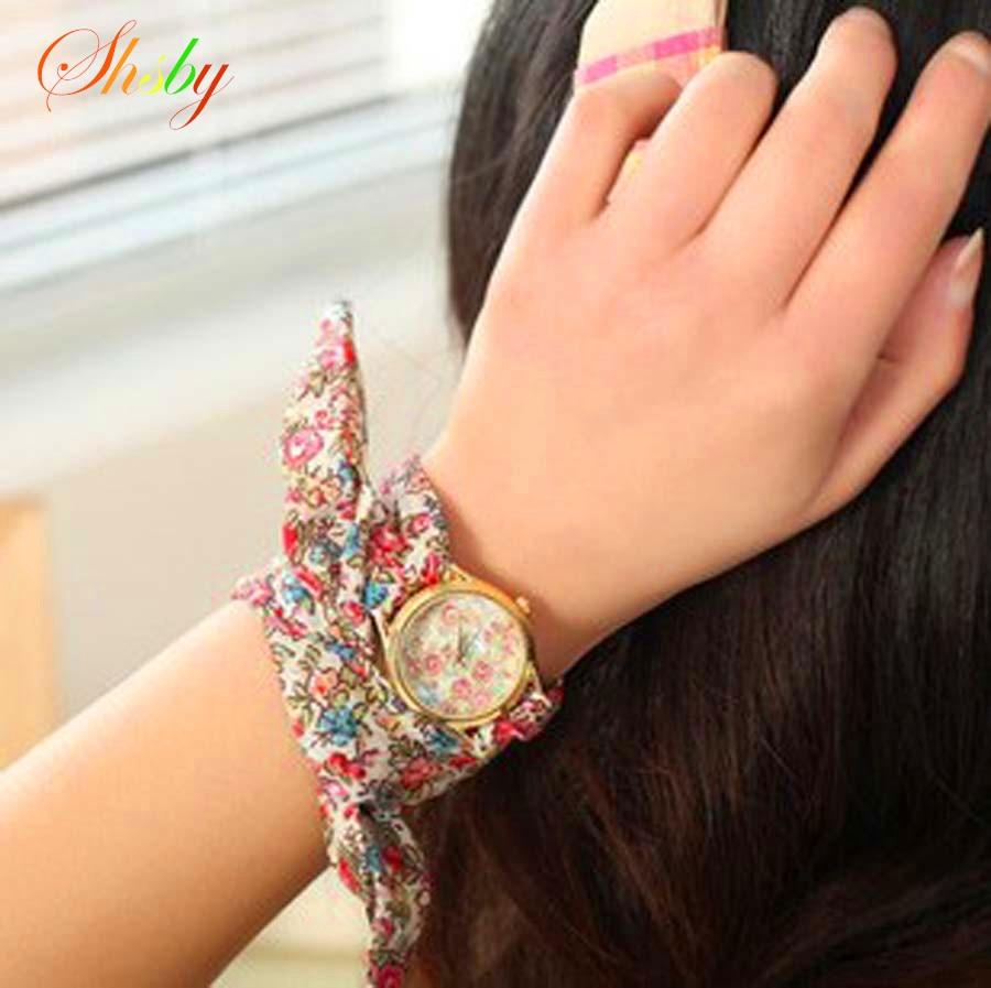 Shsby nový design Dámy květina plátěné hodinky květinové ženy šaty hodinky vysoce kvalitní látky hodinky sladké dívky náramek hodinky