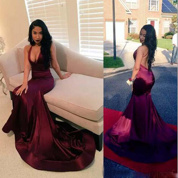 Black Girls Backless Prom Dresses With Deep V Neck Long Mermaid Evening Gowns Count Train African Vestidos Cocktail Dress